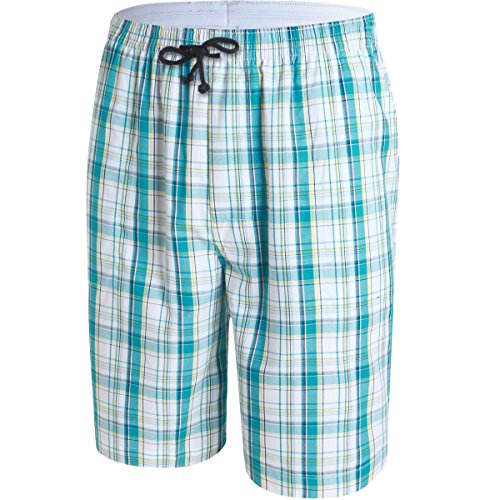 JINSHI Mens Lounge/Sleep Shorts Plaid Poplin Woven 3Pack Cotton by JINSHI (Image #3)