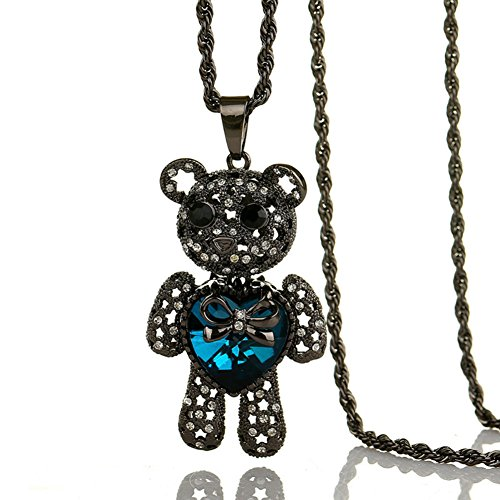 ISAACSONG.DESIGN Long Chain Sweater Necklace Ocean Blue Crystal Charm Jewelry for Women (Sapphire Blue Teddy (Teddy Bear Heart Charm)