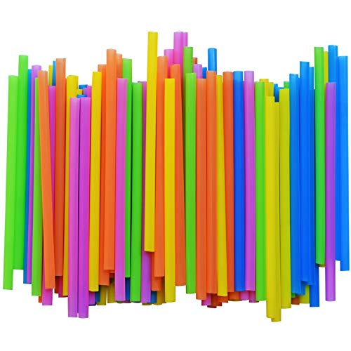 Jumbo Plastic Straws | 300 Pack | Extra Wide Smoothie Drinking Straw - with Recipe E-Book - BPA-Free Straws - Bright Colors - Works for Smoothies, Juices Cocktails and More - by FUMCare
