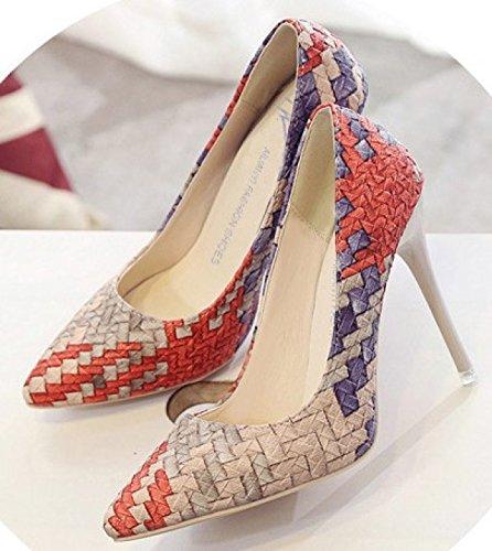 Pies La Patrón De Baja La De De Mujer Otoño GRRONG Zapatos Tejido Pink Conjuntos Boca Señalaron De EBqxZ