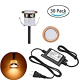LED Deck Lights Kit, Low Voltage 30 pcs Waterproof IP65 Φ1.22'' Recessed Deck Lamp Warm White LED In-ground Lighting Outdoor Garden Yard Pathway Patio Step Stairs Landscape Decor Lamps, Red Bronze