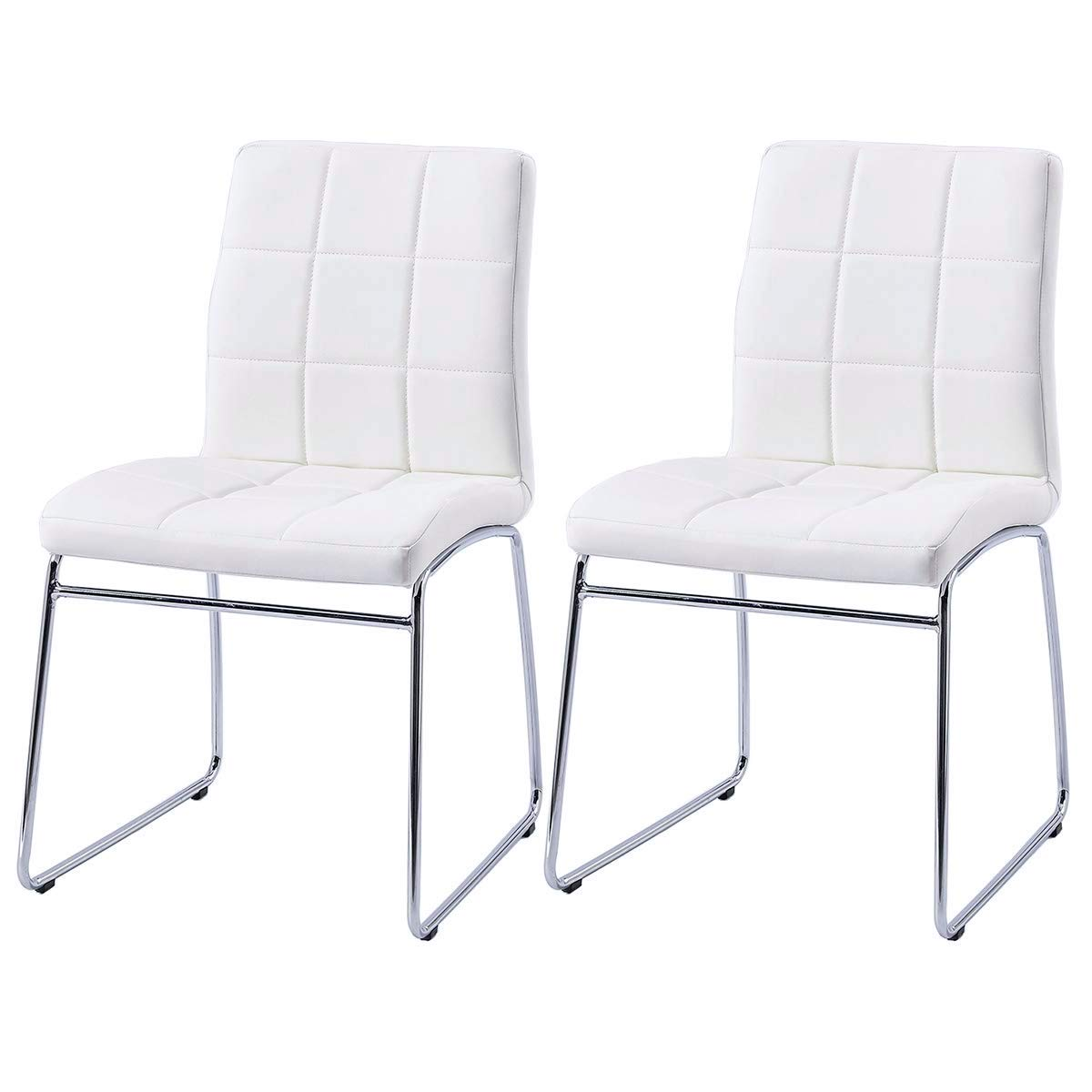 Astounding Modern Dining Chairs Set Of 2 Dining Room Chairs With Faux Leather Padded Seat Back In Checkered Pattern And Sled Chrome Legs Kitchen Chairs For Squirreltailoven Fun Painted Chair Ideas Images Squirreltailovenorg