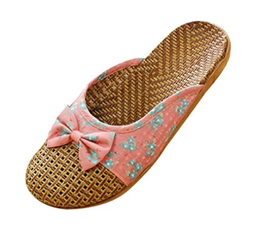 Cattior Women Bow Cute Slippers Indoor Outdoor Slippers Red TkpIbYiKp