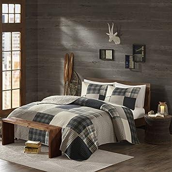 3 piece light grey brown plaid quilt king set cal king madras tartan lumberjack pattern