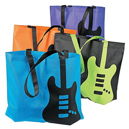 Fun Express Guitar Tote Bags | 12 Count | Great for Themed Birthday Parties, Beach Traveling, Prizes and Favors, Halloween Trick-or-Treating