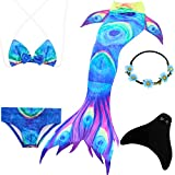 UrbanDesign Mermaid Tail with Monofin for Swimming Mermaid Costume Child for Girls (9-10 Years, Blue Abyss)