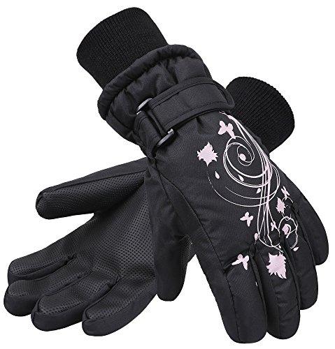 SimpliKids Girl's Waterproof 3M Thinsulate Winter Ski & Snowboard Gloves, Butterfly Print,M,Black (Butterfly Mitt)