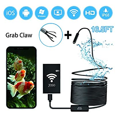 Wireless Endoscope WiFi Borescope Inspection Camera 1200P Semi-rigid 2.0 MP HD Snake Camera 8 LED lights for Android & IOS Smartphone, Iphone, Samsung, Tablet Includes Carring Case Bag - Black 16.5FT
