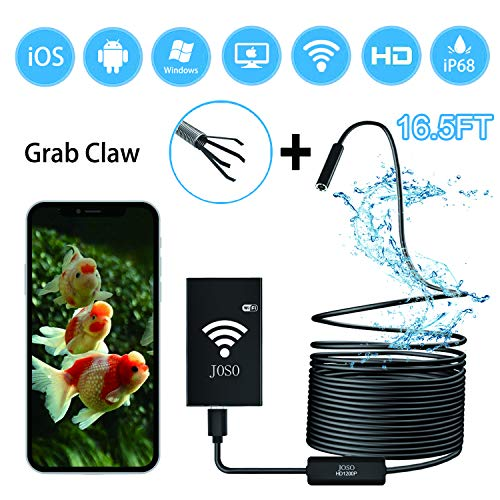 Wireless Endoscope WiFi Borescope Inspection Camera 1200P Semi-rigid 2.0 MP HD Snake Camera 8 LED lights for Android & IOS Smartphone, Iphone, Samsung, Tablet Includes Carring Case Bag - Black 16.5FT by Joso