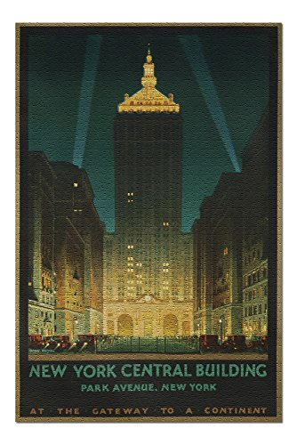 New York Central Building Vintage Poster (Artist: Bonestell) USA c. 1930 (20x30 Premium 1000 Piece Jigsaw Puzzle, Made in USA!) -