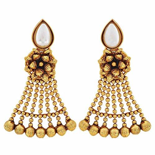 Maayra Wedding Festival Earrings Copper Dangler Drop White Black Indian Classic Jewellery by Maayra