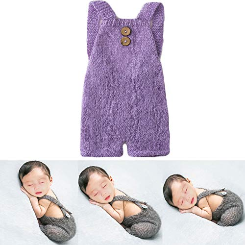 Baby Photography Props Boy Girl Photo Shoot Outfits Newborn Crochet Costume Infant Knitted Clothes Mohair Rompers (Purple) ()