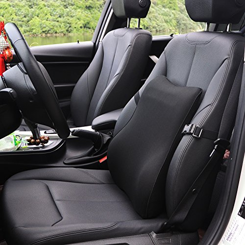 Dreamer Car Ergonomic Back Support for Car Designed for Full Lumbar Support and Back Pain Relief- High Density Memory Foam Lumbar Support for Car with Adjustable Strap for Office Chair/Computer,Black by Dreamer Car (Image #2)