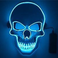 shirylzee Máscaras Halloween LED, Máscaras Halloween de Terror con 3 Modos Máscara Disfraz Luminosa Craneo Esqueleto…