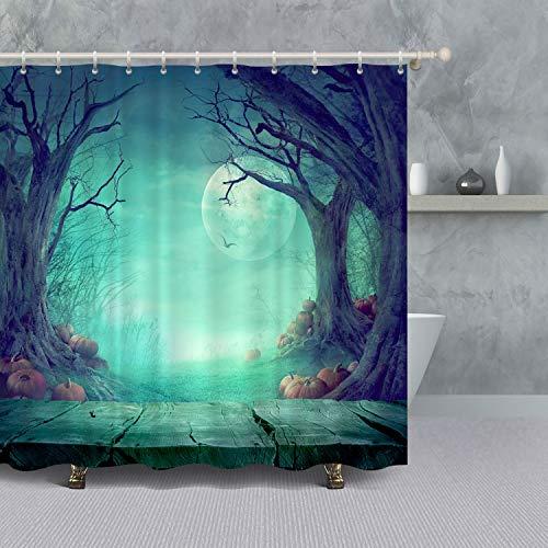 VANCAR Halloween Decor Shower Curtain,Halloween Theme Spooky Forest