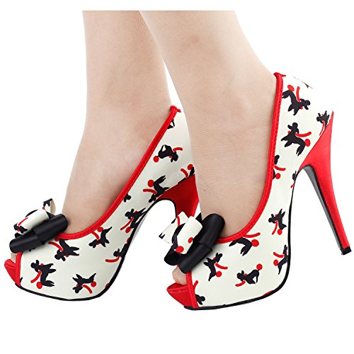 Shoes Platform Story Pattern Peeptoe Cute Show Puppy LF30475 Beige Stiletto Bow Pump xwFzHBSq