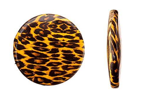 Print Bead Animal - Leopard Print Round Plate Acrylic Beads 32x6.15mm sold per pack of 50g/13pcs