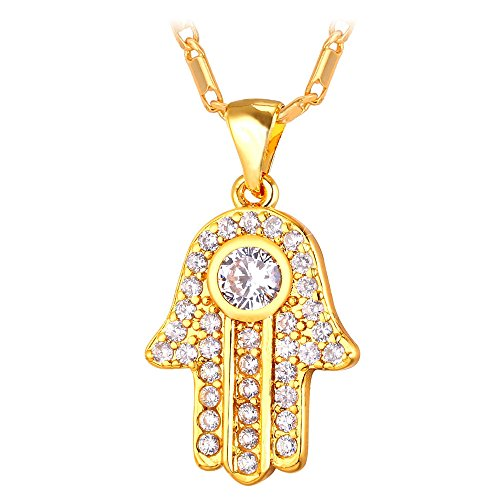U7 Lucky Hamsa Pendant for Women 18K Stamp Chain Gold Plated Cubic Zirconia Hand of Fatima Necklace ()