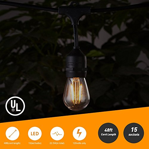 48FT Outdoor String Lights with 15 Shatterproof LED S14 Edison Light Bulbs-UL Listed Commercial Patio Lights for Deck Backyard Porch Balcony Bistro Cafe Pergola Gazebo Market Garden Decor, Warm White by Brightown (Image #2)