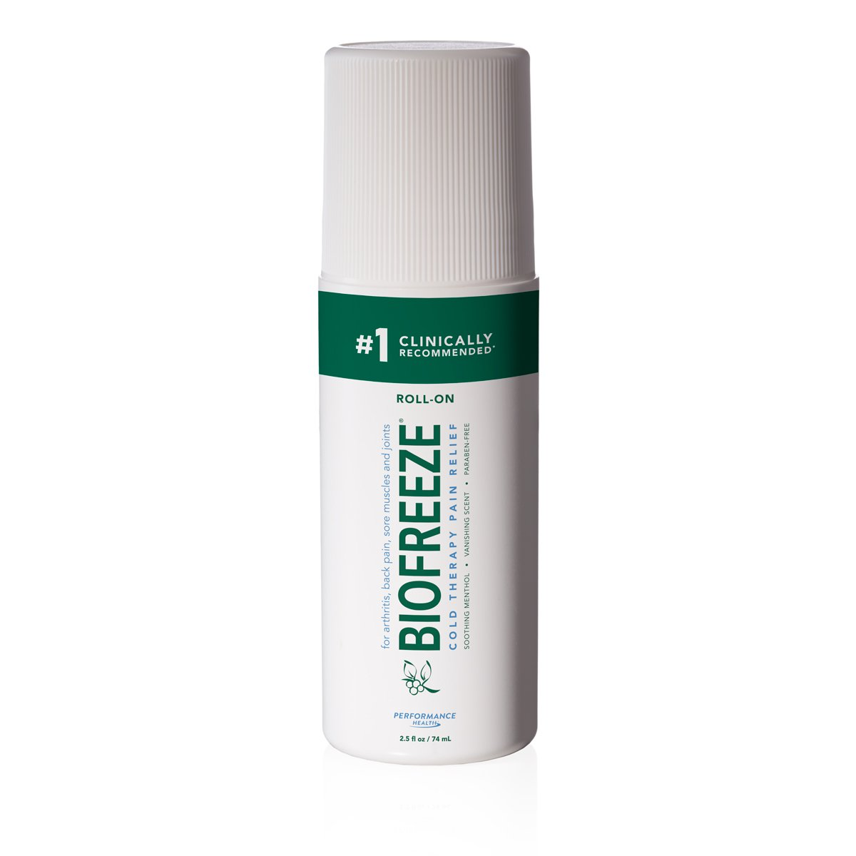 Biofreeze Pain Reliever Gel for Muscle, Joint, and Arthritis Pain, Cooling Topical Analgesic Cream, NSAID Free Pain Relief Works Like Ice Pack, 2.5 oz. Roll-On, Original Green Formula, 4% Menthol
