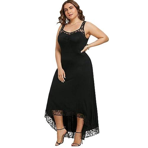 Vestido Mujer Elegante de Boda Fiesta Cóctel Vestidos de Encaje Floral Irregular Desigual Largo sin Mangas Tallas Grandes, XL - 5XL