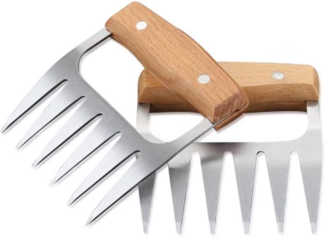 Valiant M.E. Metal Meat Claws 2 PCS, BBQ, Kitchen Meat Shredder, Bear Claws, Wooden Handle, Stainless Steel Forks, Best for Shredding Chicken, Turkey, Brisket, Pork (Stainless Steel)