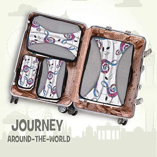 音楽アート荷物パッキングキューブオーガナイザートイレタリーランドリーストレージバッグポーチパックキューブ4さまざまなサイズセットトラベルキッズレディース