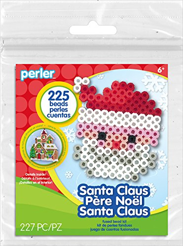 Perler Beads Santa Claus Christmas Fuse Bead Activity Kit for Kids Crafts, 227 pcs -