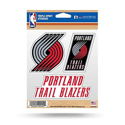 fan products of NBA Portland Trail Blazers Triple Spirit Stickers, Red, Grey, Black, 3 Team Stickers