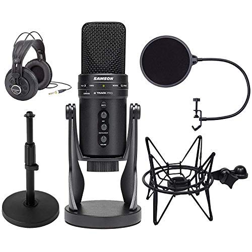 (Samson G-Track Pro Professional USB Condenser Microphone with Headphones + Samson Shockmount & Pop Filter + Tabletop Mic Stand)