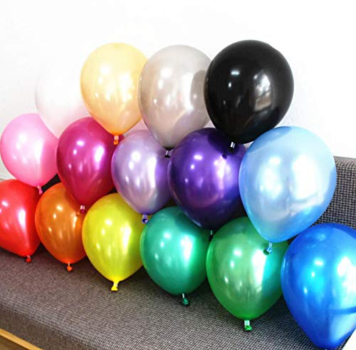 Mini Skater 50 Pcs Assorted Color Balloons 12 Inch Premium Quality Pearl Metallic Helium Air Latex Rainbow Balloon Bulk Round for Birthday Wedding Festival Events Carnival (50)]()