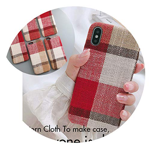 Couple Soft Fabric Texture Case for iPhone 7 Case for iPhone 6 6S 7 8 Plus X Xs X Max XR Slim Pattern Grid Phone Cases,IK51-GE Z Hong,for iPhone (Best Jd Cases For Iphone 6 Plus To Protect The Cases)