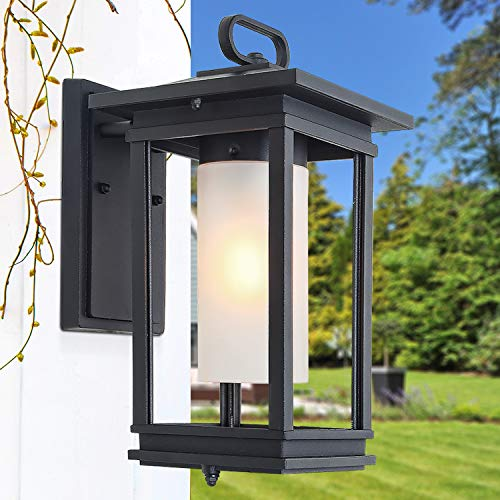 - LOG BARN Exterior Light Fixtures, Farmhouse Outdoor Wall Lantern with Frosted Glass, Patio/Porch Wall Mount Light Fixtures in Sandy Black Finishes for Entryway, Yards, A03277