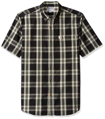 Carhartt Men's Essential Plaid Button Down Short Sleeve Shirt, Black, Large