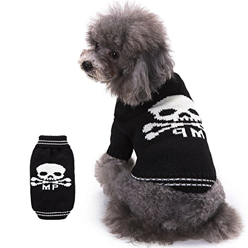 Black Skull Sweater (BOBIBI Pet Holiday Halloween Skull Pet Clothes Dog Sweater -Black)