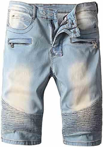 0caf63a479 Shunht Men's Fashion Straight Denim Shorts Zipper Crinkle Biker Jeans Shorts
