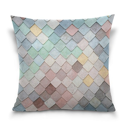 Jere Mermaid Wall Pillow Cover, Pillow Covers 20 x 20 Decorative Square Cotton for Bed Sofa