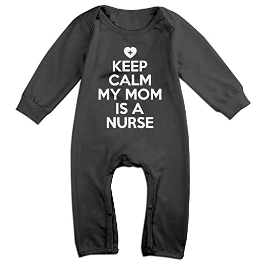 1e8e0ec496 Amazon.com  Keep Calm My Mom is A Nurse Rompers for Baby Kids Cute  Clothing