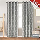 dark grey curtains bedroom Grey Curtains 84 inch 2 Panel for Bedroom Home Kitchen Linen Texture Thermal Insulated Room Darkening Drapes Moroccan Tile Print Curtain Set Soft Gray on Flax