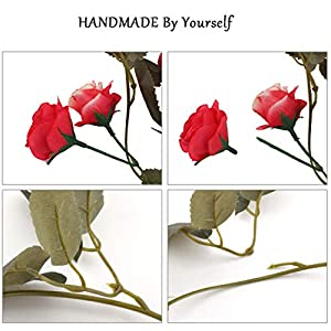 Flojery 2PCS/10.82FT Artificial Rose Flowers Fake Flower Garland Ivy Vine Green Leaves Home Wedding Garden Party Floral Decor 3