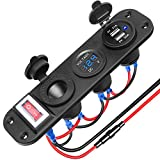 Electop Dual USB Charger Socket 2.1A & 2.1A with Power Indicator+LED Voltmeter+12V Power Outlet Cigarette Lighter Socket Adapters+ ON-Off Toggle Switch Panel Jack for Car Boat Marine RV Truck(Blue)