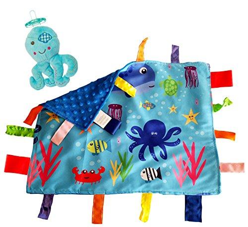 Dot Minky New (Lovey Baby Tag Minky Dot Blanket Bundle with Wubbanub Pacifier (Ocean Animals Octopus))