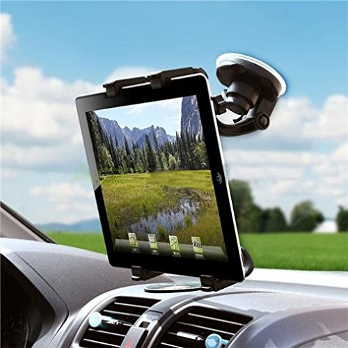 (Car Mount Tablet Holder Windshield Swivel Cradle Window Dock Stand Strong Suction Multi-Angle Rotation for iPad 4, Air, 2, Mini, 2, 3, 4, Pro 10.5, 9.7 - Lenovo Moto Tab (10.1) - ZTE ZPad 8)