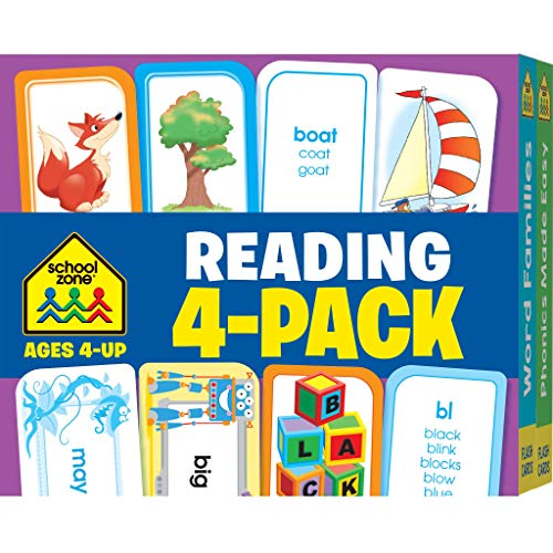 School Zone - Reading Flash Cards 4-Pack - Ages 4 and Up, Short and Long Vowel Sounds, Combination Sounds, Rhyming, and More (Flash Card 4-pk) -
