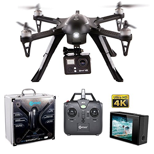 HOLIDAY SPECIAL! Contixo F17+ RC Quadcopter Photography Drone 4K Ultra HD Camera 16MP, Brushless Motors, 1 High Capacity Battery, Supports GoPro Hero Cameras, Alum Hard Case - Best Gift For Christmas