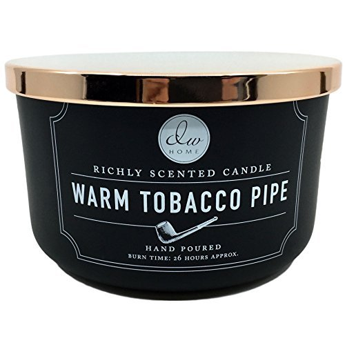 - DW Home Large Warm Tobacco Pipe Richly Scented Candle with Three Wicks