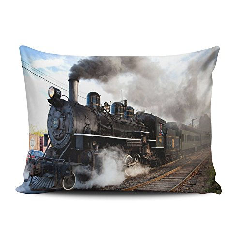 ZeDae Pillowcase Personalized Cool Steam Train and Railway Cushion Pillowcases Beauty Home Decorative Throw Pillow Covers Cases Queen 20x30 Inches One Sided (Pillowcase Train)