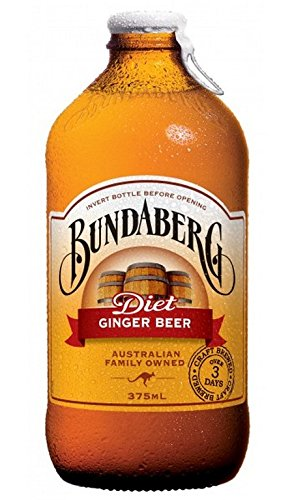 BUNDABERG, DIET GINGER BEER, Pack of 6, Size 4/375 ML - No Artificial Ingredients Dairy Free Vegan