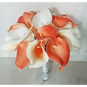 Coral Ivory White Calla Lily Bridal Wedding Bouquet & Boutonniere 47