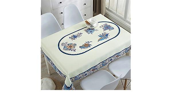 CrazyWind Mantel Impermeable, Mesa de Centro de hogar Toalla de Cubierta de Polvo de Mesa, Estampado Floral Azul de Dibujos Animados, mesita de Noche ...
